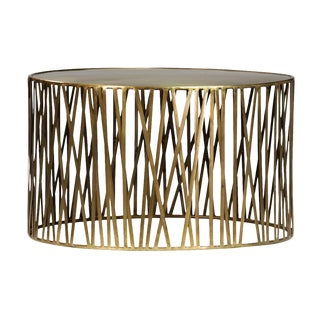 Round Brass Stick Drum Coffee Table