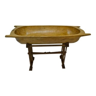 Massive Fruitwood Trog or Dough Bowl on Oak Stand