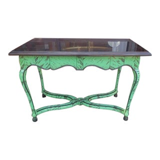Belgian Marble and Faux Tortoiseshell Center Table