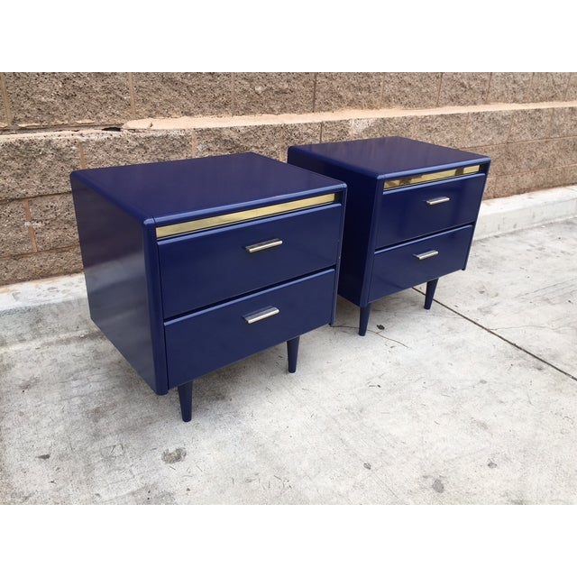 Image of 1980s Blue Brass Nightstands - A Pair