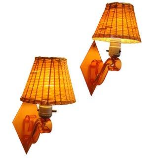 Orange Acrylic Wall Lights - A Pair