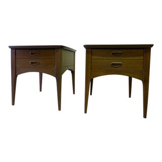 Mid Century Modern Walnut Nightstands - A Pair