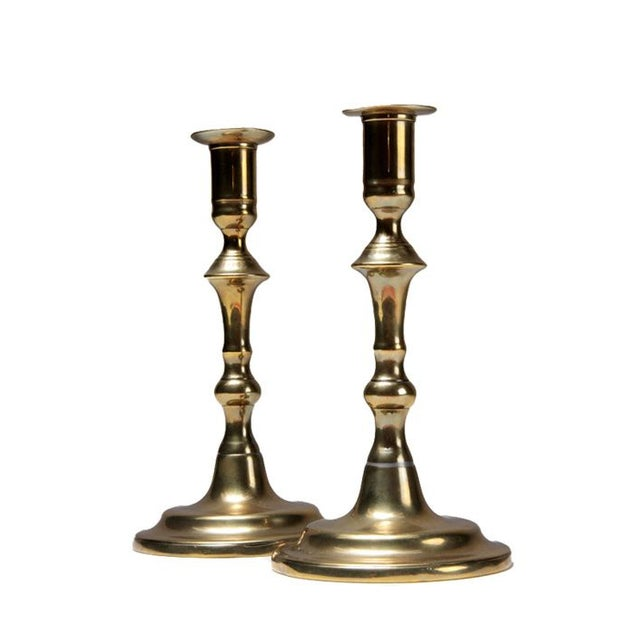 Image of Antique Queen Anne Brass Candlesticks - a Pair