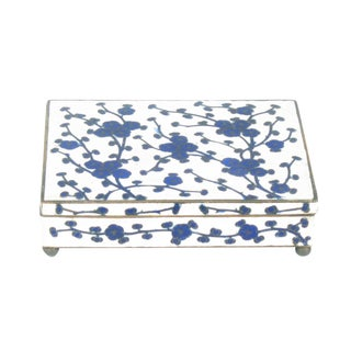 Chinese Blue & White Floral Cloisonne Box