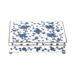 Image of Chinese Blue & White Floral Cloisonne Box