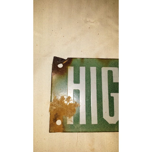 Vintage Green Porcelain High Voltage Sign - Image 5 of 6