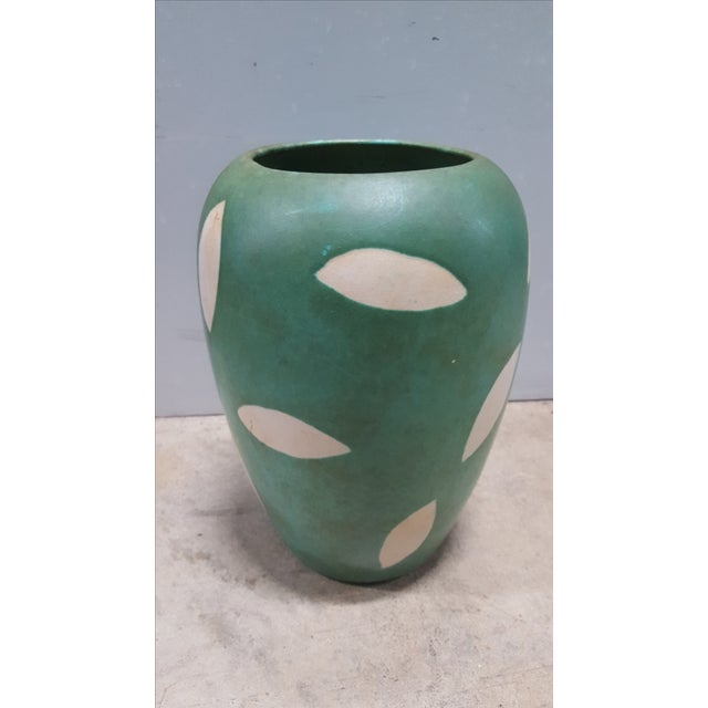 West Germany Green And Cream Pottery Vase - Image 2 of 3