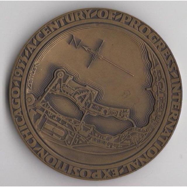 1933 Art Deco Chicago Expo Bronze Sculpture Medallion - Image 3 of 3