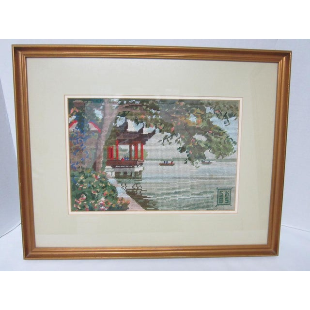 Oriental Asian Teahouse on the Lake Needlepoint - Image 2 of 11