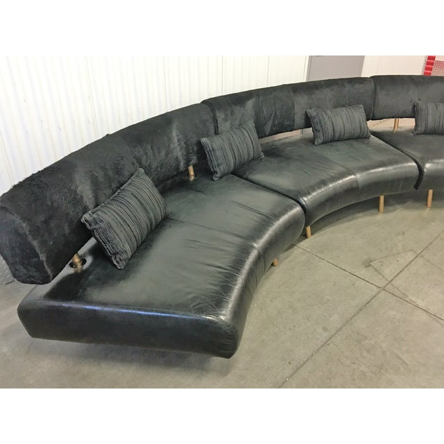 3-Pc Black Faux Cowhide Sectional Sofa - Image 7 of 11
