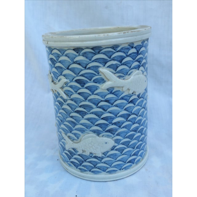 Calligraphy Brush Holder With Raised Fish Design - Image 2 of 6