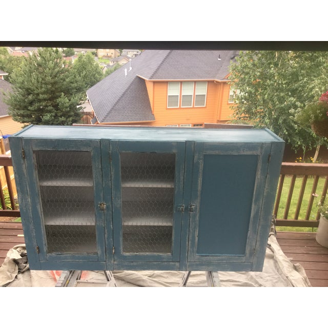 Antique Blue Wash Barn Cabinet - Image 3 of 5