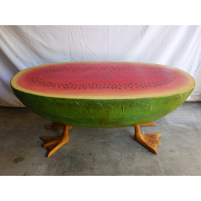 Mid-Century Fiberglass Watermelon Coffee Table - Image 2 of 7