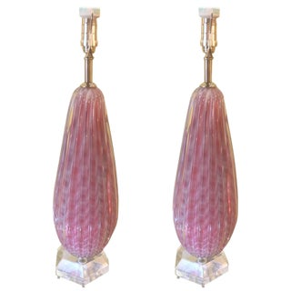 Murano Pink & White Glass Table Lamps - A Pair
