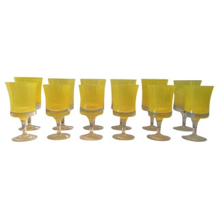 Vibrant Canary Yellow Set of 12 Murano Glasses