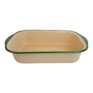 Green Trim Enamelware Pan