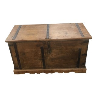 Antique Trunk With Wrought Iron Banding