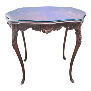 Antique Rococo Style Turtle-Shaped Top Scrolled Inlay and Custom Glass Top Side Table