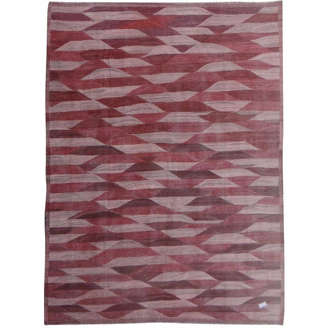 "Hand Knotted Modern Kilim by Aara Rugs Inc. - 13'3"" X 9'11"" - Image 1 of 4"