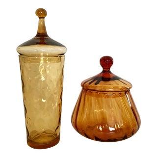 Amber Apothecary Jar Set - A Pair