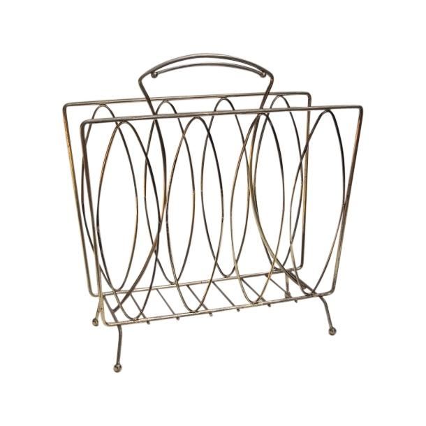 Mid Century Modern Metal Magazine Rack - Image 1 of 3