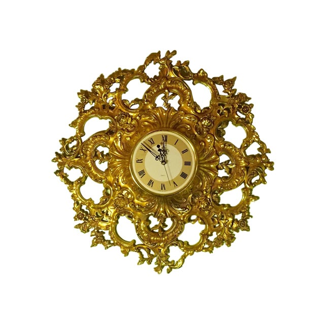 Mid-Century Modern Syroco Gilt Wall Clock - Image 1 of 7