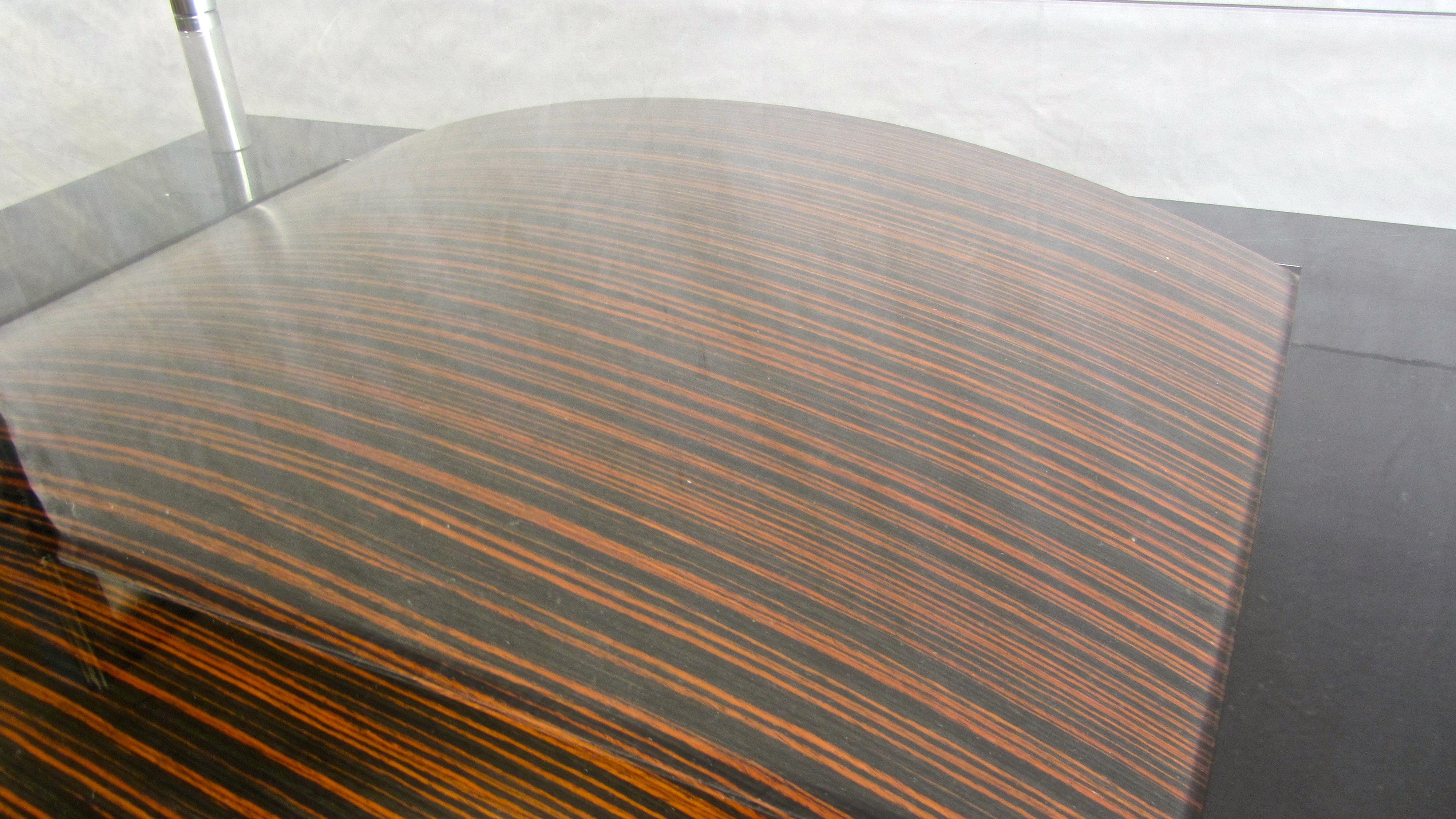 Macassar Ebony Contemporary Glass Cocktail Table   Image 10 Of 10