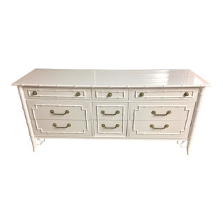 Thomasville White Lacquered Faux Bamboo Allegro Dresser