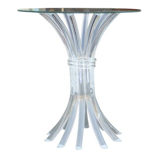 Faux Bamboo Lucite Accent Table