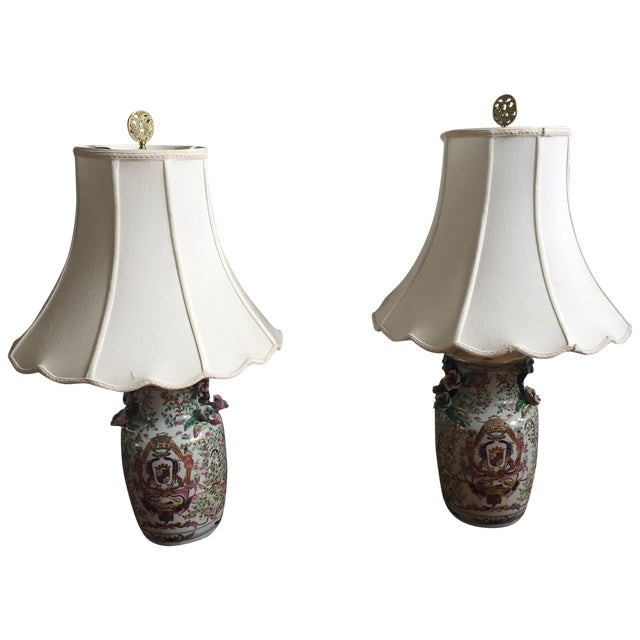 Antique Chinese Rose Medallion Vase Lamps - Pair - Image 1 of 11
