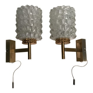 Rare Gaetano Sciolari Glass & Brass Pair of Sconces