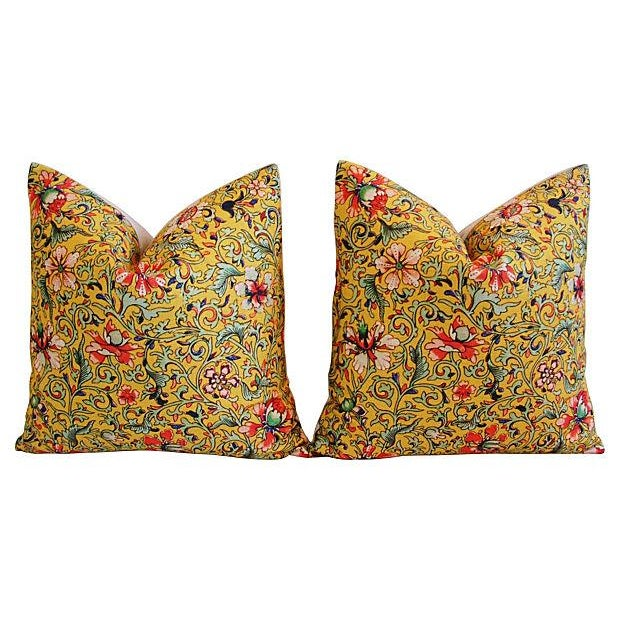 Colorful Asian Floral Linen Pillows - a Pair - Image 7 of 7