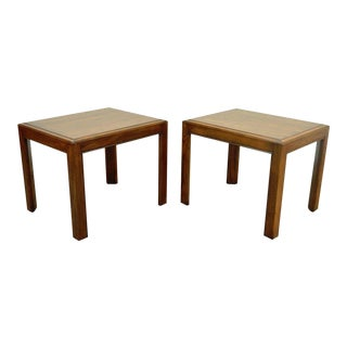 Vintage Henredon Oak Campaign Parsons Style Side Tables - A Pair