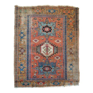 "Antique Persian Heriz Rug - 4'11"" X 6'3"""