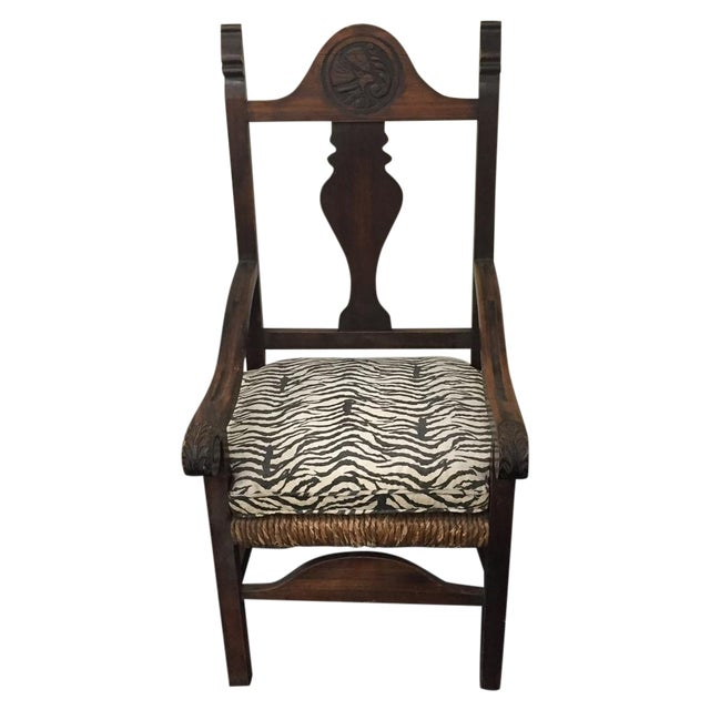 Zebra Carved Wood & Wicker Armchair - Image 1 of 7