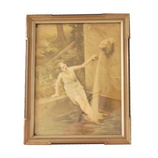 Flapper Swimming in a Fountain Framed Photograph
