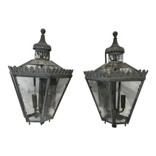 Verde Brass Lanterns - A Pair