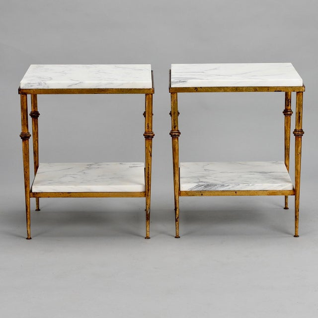 Pair of Spanish Gilt Metal and White Marble Side Tables - Image 11 of 11