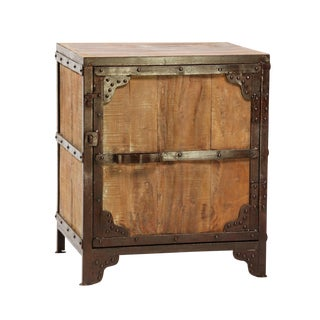 Industrial Wood & Steel Side Cabinet