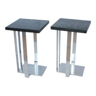 Modern American Chrome and Ebonized Wood Side Tables - a Pair
