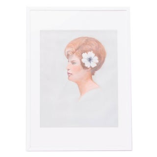 Vintage Pastel Portrait of Woman with Hibiscus