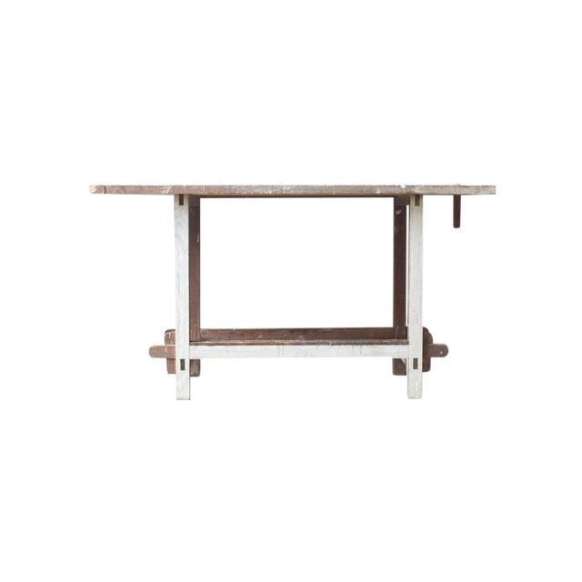 White Painted Wooden Work Table - Image 1 of 4