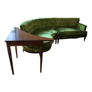 Green Velvet Art Deco Sectional & Side Table - A Pair