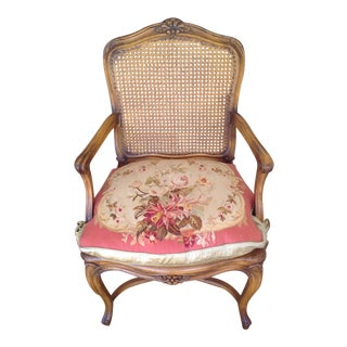 Cane Side Chair With Needlepoint Cushion