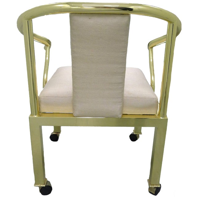 Brass Horseshoe Chair by Mastercraft - Image 2 of 4