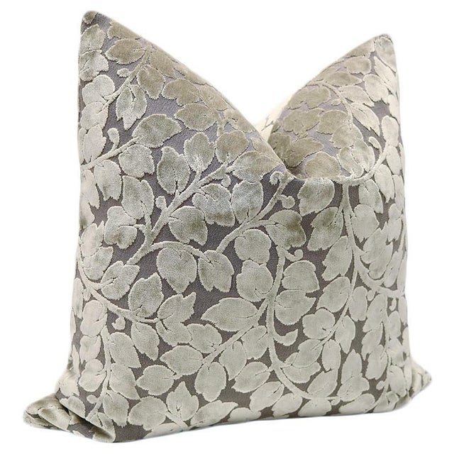 """22"""" Taupe Leaf Cut Velvet Pillows - a Pair - Image 3 of 3"""