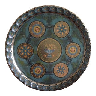 Mid-Century Turquoise Gold Tray