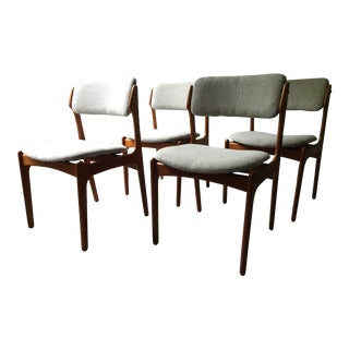 Vintage Erik Buck O.D. Mobler Danish Dining Chairs - Set of 4
