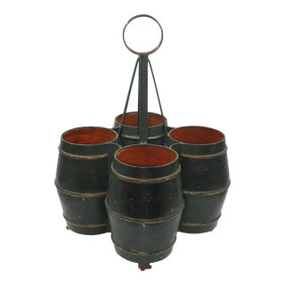 Green Tole Painted Bottle Carrier