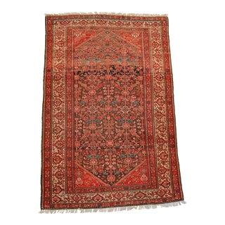 Antique Persian Senneh Red Wool Rug - 4′1″ × 6′3″